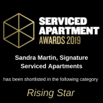 Sandra Martin of Signature Service Apartments was Shortlisted at the Serviced Apartment Awards 2019
